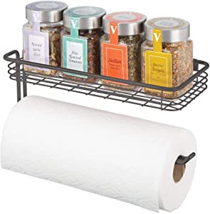 mDesign Paper Towel Holder with Spice Rack and Multi-Purpose Shelf - Wall Mount Storage Organizer for Kitchen, Pantry, Laundry, Garage - Durable Metal Wire Design - Graphite Gray