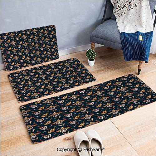 FashSam 3 Piece Non Slip Flannel Door Mat Detailed Artistic Floral Sugar Skulls with Sombrero Hats Chili Peppers and Guitars Indoor Carpet for Bath Kitchen(W15.7xL23.6 by W19.6xL31.5 by W15.7xL39.4) ()