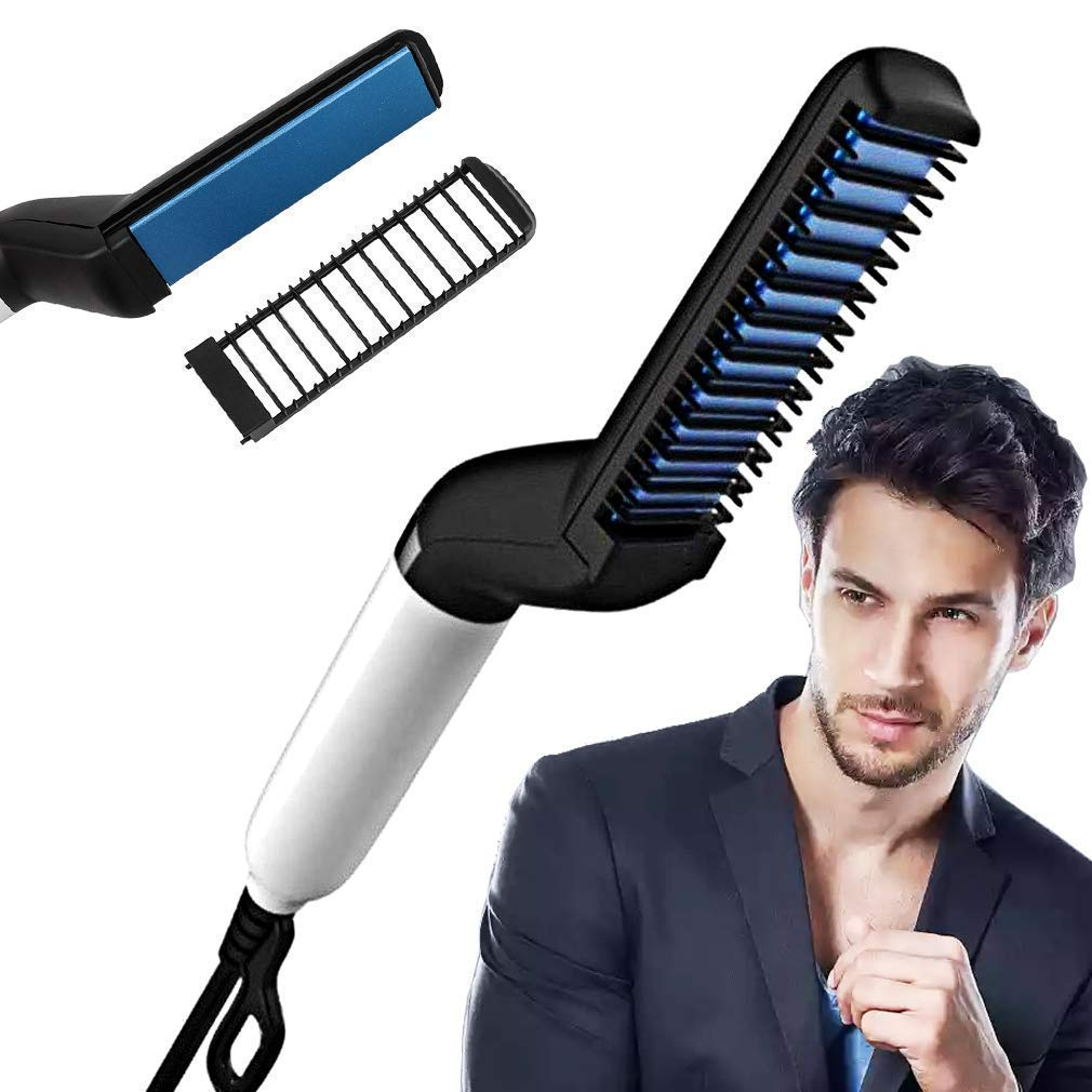 Wazdorf Men's Wazdor Quick Hair Styler Electric Beard Straightener Massage Multifunctional Curly Straightening Comb Curler (Black)