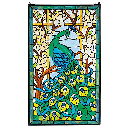 Design Toscano Peacock's Paradise Stained Glass Window Hanging Panel, 35 Inch, Full Color
