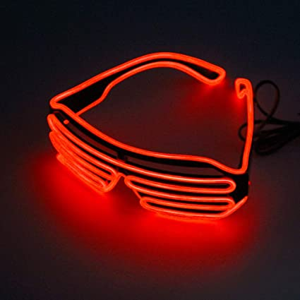 77a965c103 GZQ Luminous LED Glasses EL Wire Neon Funny Flashing Light Sunglasses for  Christmas Halloween Dancing Party