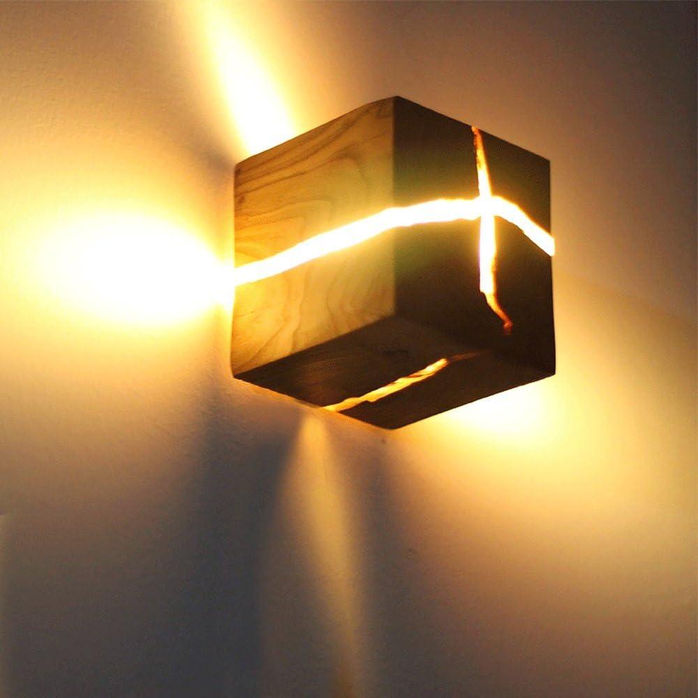 LED g/éom/étrique lampe murale Nordic Bois Applique moderne solide lampe murale en bois Chambre chevet lampe d/éclairage Caf/é Restaurant D/écoration couleur bois