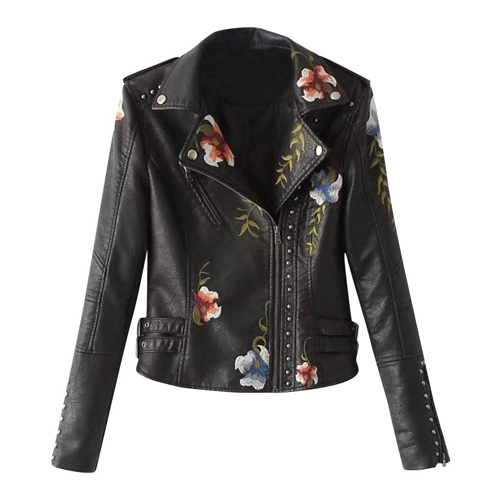 Ultramall Leather Jacket Women Casual Long Sleeve Embroidered Studded Zipper Slim Black Motorcycle Jacket Short Coat by Ultramall