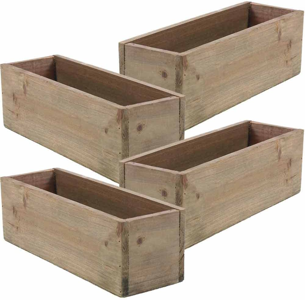 Wooden Planter Box, Rustic Barn Wood, Plastic Liner, Garden Decor, Restaurant and Wedding Decorations, Wedding Bouquets, Table Centerpiece, Rectangle, 12 x 4 Inches, (Rectangular), (Set of 4)