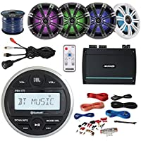 JBL PRV-175 Marine Boat Cycle Bluetooth USB Receiver Bundle With 4 Kicker KM654 6.5 Multi-Color LED Speakers W/ Light Remote + 4-Channel Amplifier W/ Install Kit + Enrock AUX to RCA Cable + 50Ft Wire
