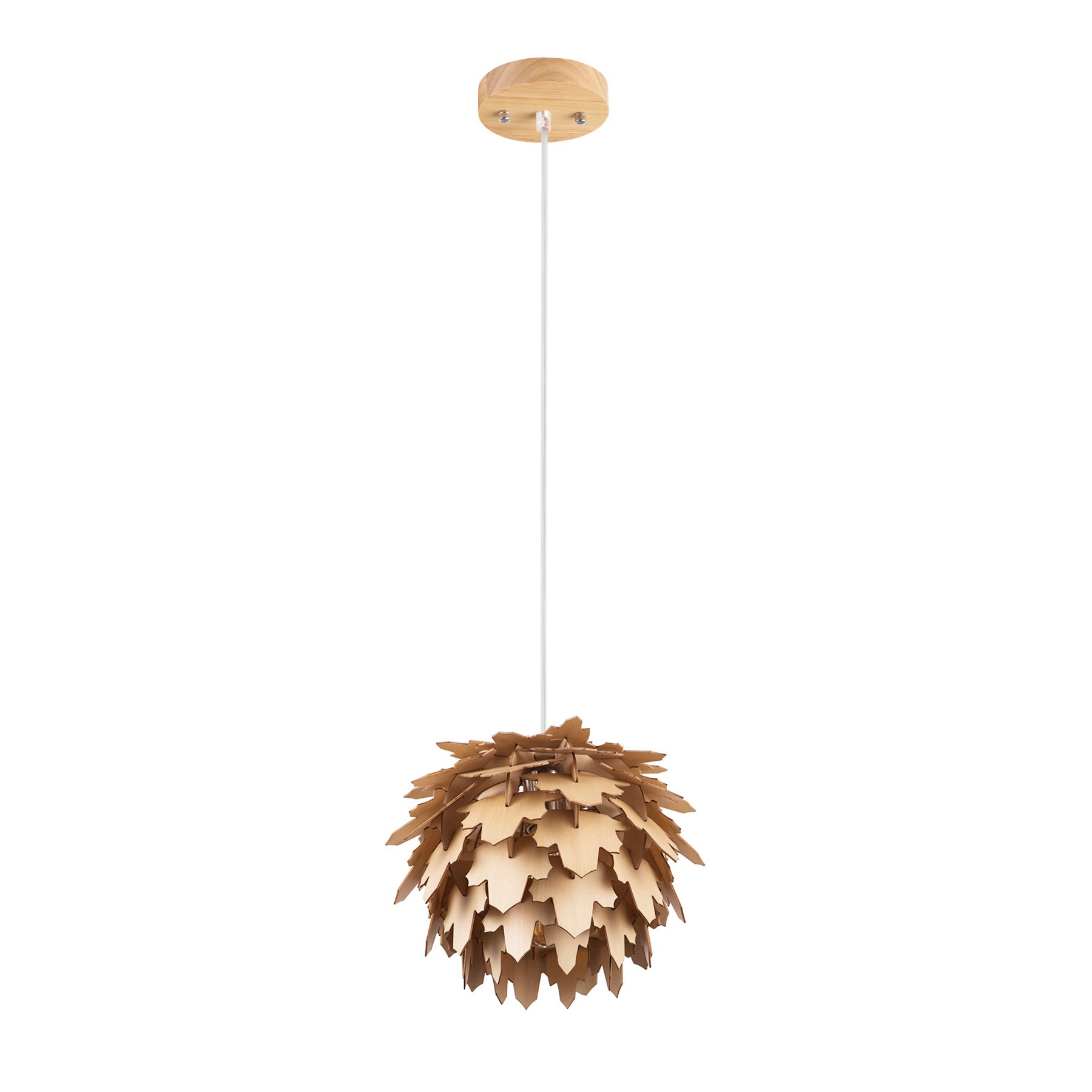 MAYKKE Coni Wooden Pendant Lamp | Modern & Contemporary Hanging Ceiling Lighting with Adjustable Cord | Natural Wood Finish, MDB1080101