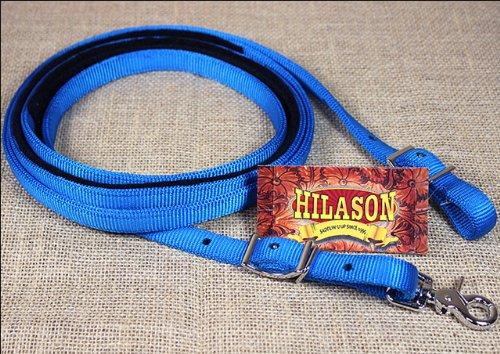 HILASON 5/8in x 8ft Blue Nylon Horse Spilt Contest REIN Nickel Plated - Contest Rein