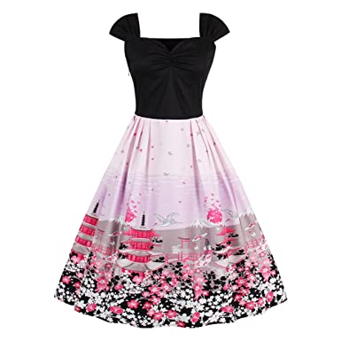 Women Summer Dress Vintage Dress Floral Print Dress Plus Size 4XL Swing Party Dress Rockabilly Feminino