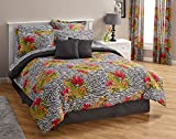 20pc Queen Size Exotic Animal Print/Tropical Hibiscus Floral Bedroom Ensemble (8pc Comforter, Sheet Set, 2 Toss Pillows, 2 Window Treatment Sets)