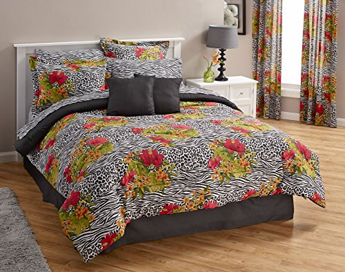 20pc Queen Size Exotic Animal Print/Tropical Hibiscus Floral Bedroom Ensemble (8pc Comforter, Sheet Set, 2 Toss Pillows, 2 Window Treatment Sets) by Exotic Home