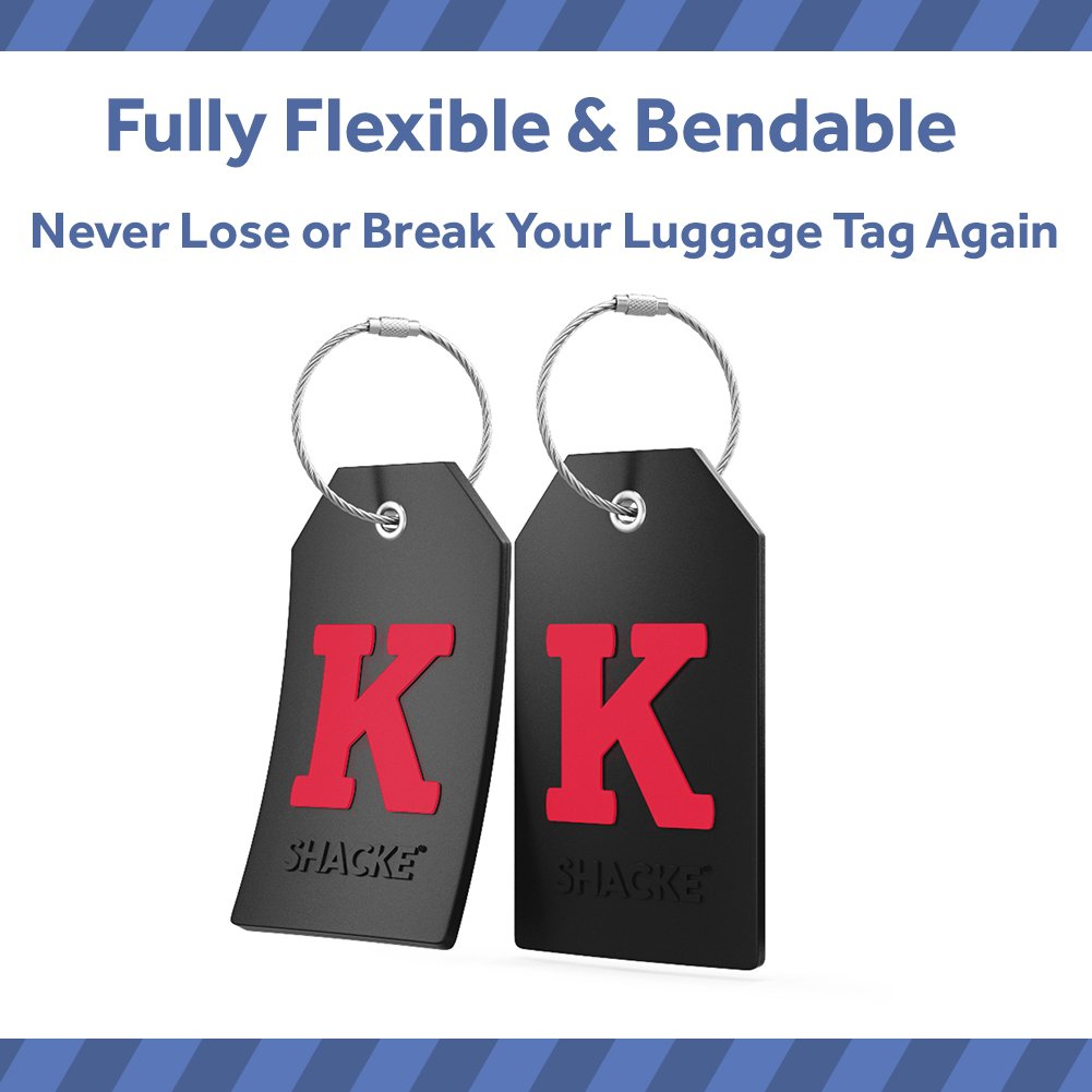 Initial Luggage Tag with Full Privacy Cover and Stainless Steel Loop (Black) (K) by Shacke (Image #4)