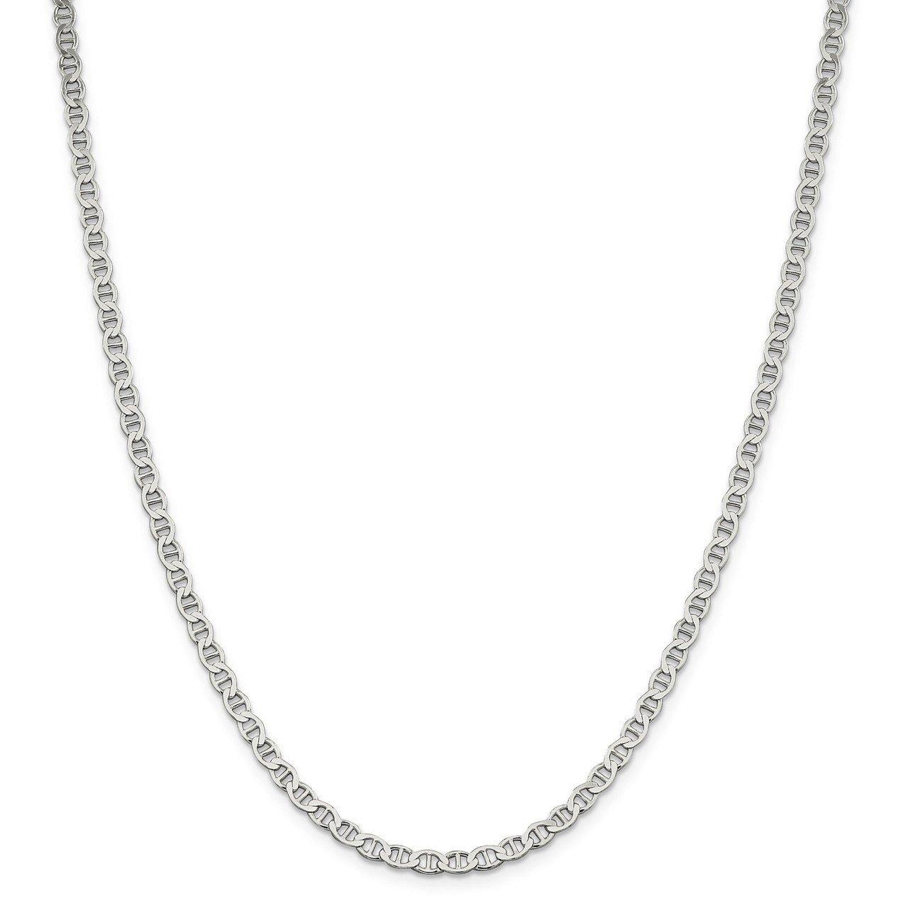 Lex & Lu Sterling Silver 4mm Flat Anchor Chain Anklet, Bracelet or Necklace-Prime