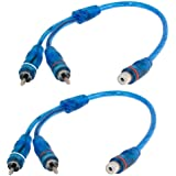 OUHL RCA Y Adapter Connector 1 Female to 2 Male, Car Audio RCA Splitter Adapter Cable, Blue (2 Pack)