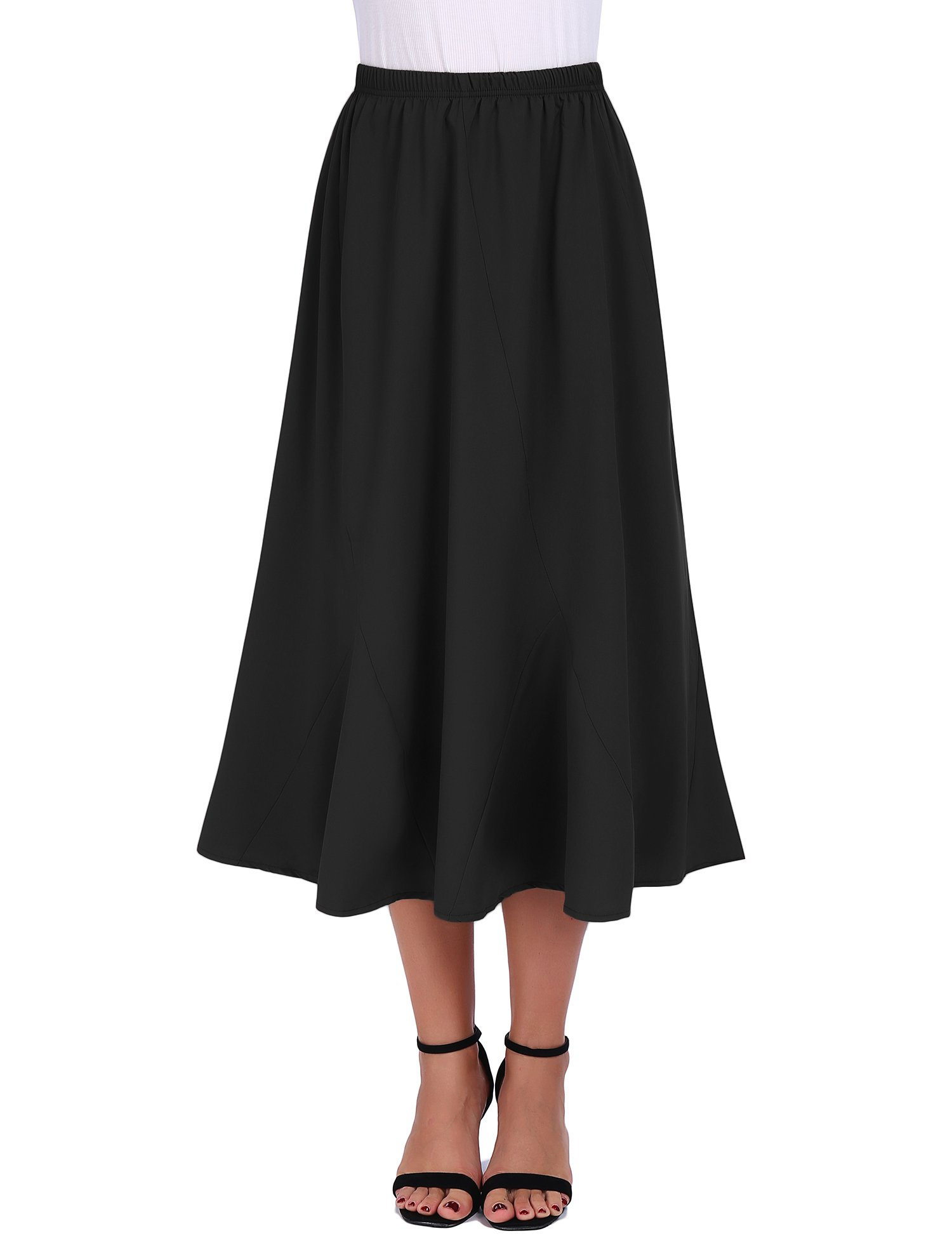 FISOUL Women Vintage Elastic Waist Skirts Casual Ankle Length Flared A-Line Pleated Long Skirts (Black, Small)