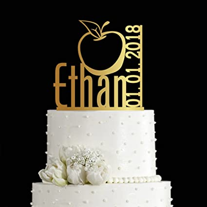 KISKISTONITE 1st Cake Toppers Apple Design Fruit Theme Customized Birthday One Anniversary Favors Party Decorating