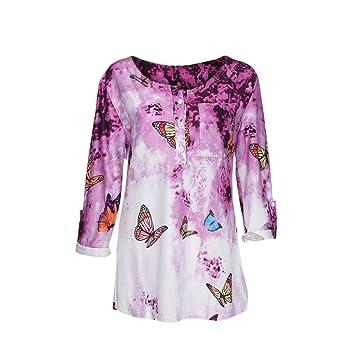 Blusa camiseta tops para mujer Otoño,Sonnena Mujer Blusa manga larga con estampado floral y