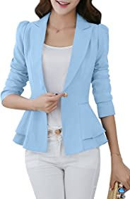 YMING Women's Slim Fit Blazer Lotus Leaf Hem Casual Tunic Office Blazer
