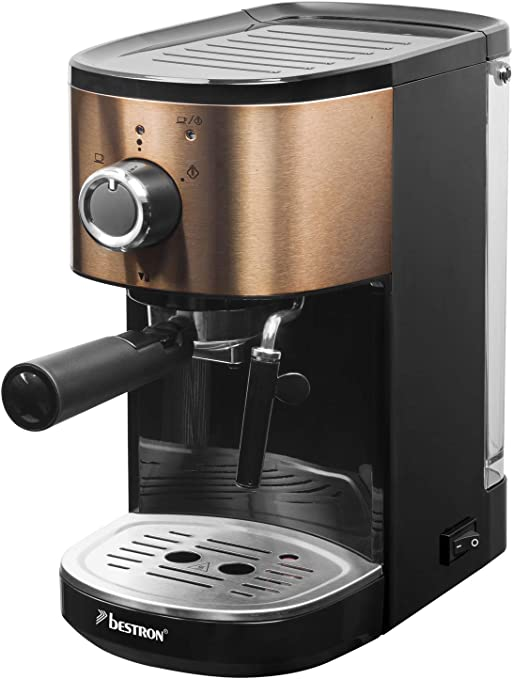 Bestron Copper Collection Cafetera Expreso para 2 Tazas, Con Tubo de Vapor Giratorio, 15 bar, 1.250/1.450 W, 1450 W, 1.2 litros, Acero Inoxidable en Color Cobre: Amazon.es: Hogar