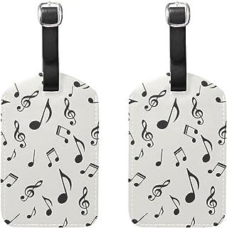 COOSUN Note musicali modello Etichette Viaggi etichette segnaprezzo carta di nome per il bagaglio Valigia Bag Zaini, 2 PCS medio multicolore