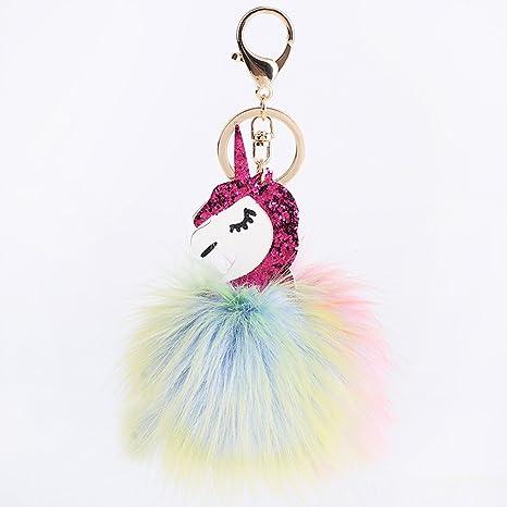 SHETOP Charm Plush Fur Ball Pom Pom Keychain Flamingo Bag Pendant Fur Key chain