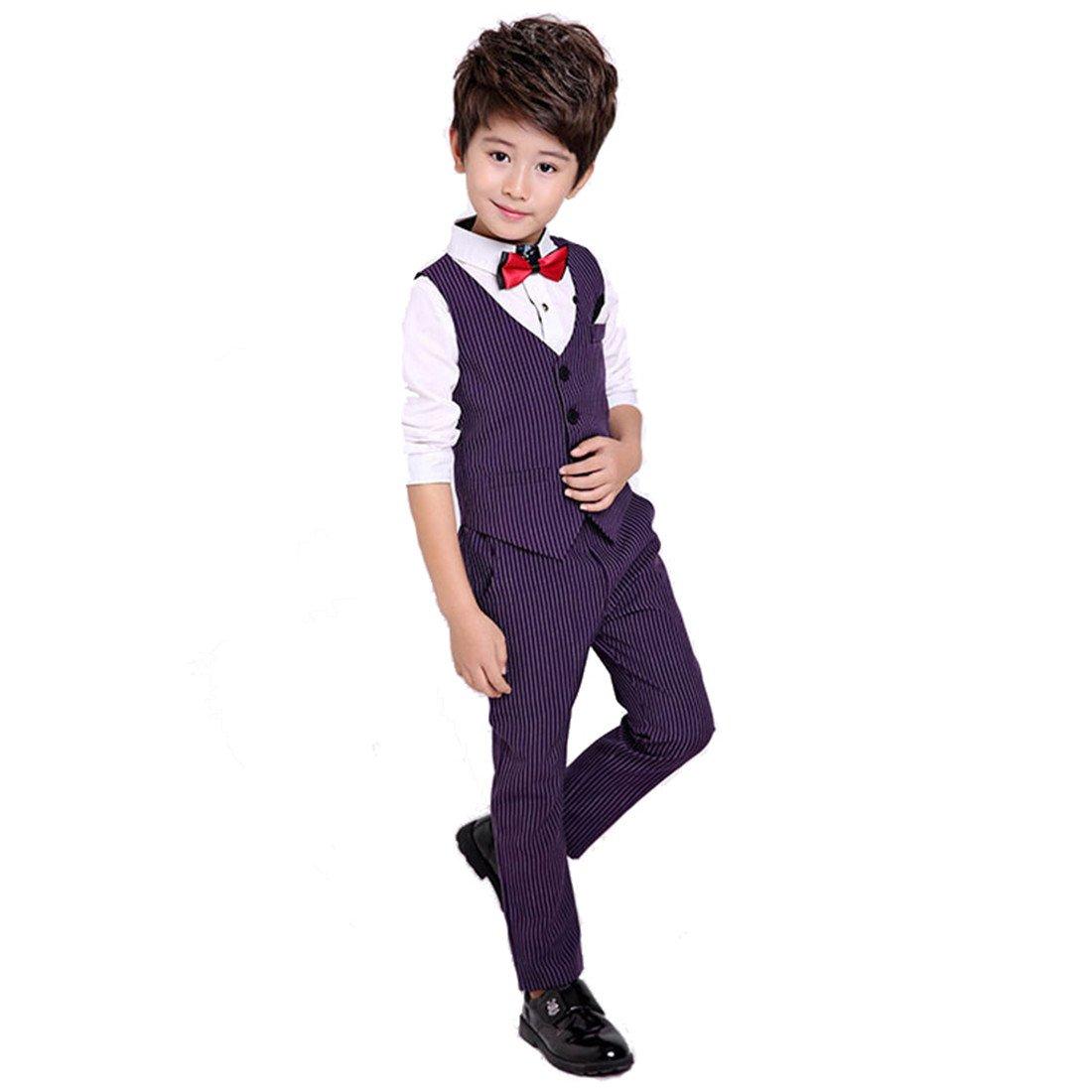 Gele 4ピースファッションドレススーツ、ベスト+ズボン+シャツ+蝶ネクタイ 5 パープル B076KSCH8V