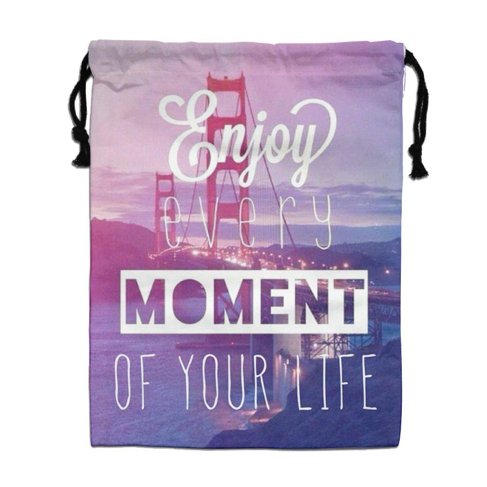 HACVREQ Personalized Drawstring Bag-Enjoy Every Moment of Your Life Holiday/Party/Christmas Tote Bag,15.7 X 11.8In