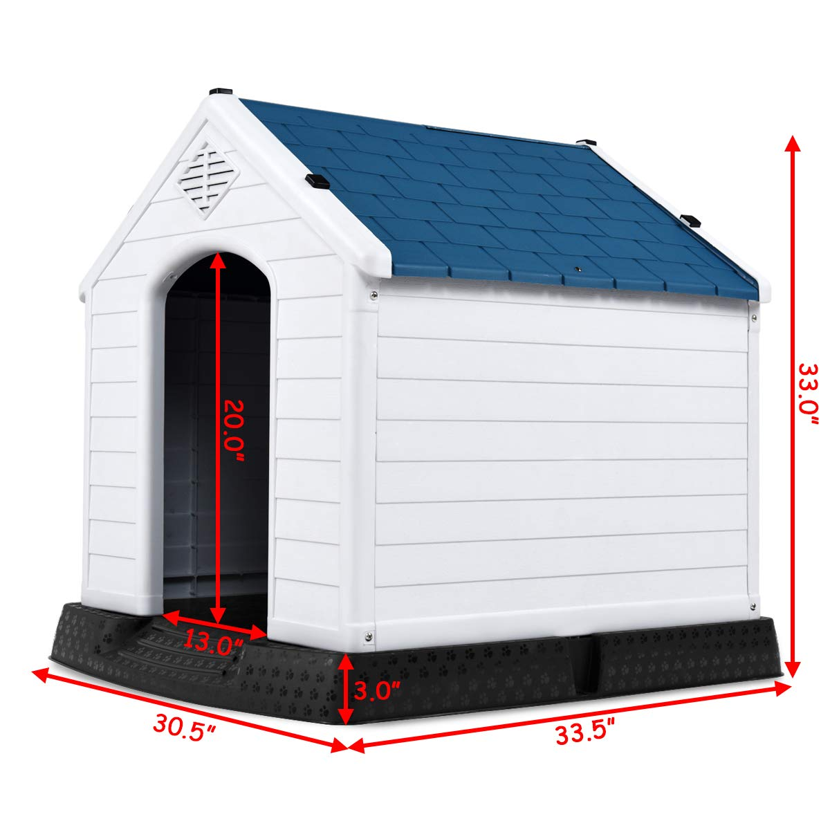 PETSJOY Dog House Waterproof Puppy Kennel Plastic Pet Dog Shelter for Indoor Outdoor Use