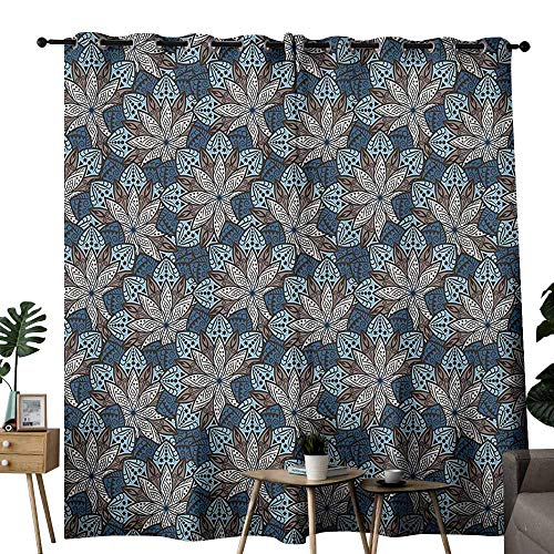 Ethnic Blackout Curtain Indian Leaf Pattern with Mandala Effects Lotus Flower Eastern Artwork Wedding Party Home Window Decoration W72 xL72 Petrol Blue Umber Cream