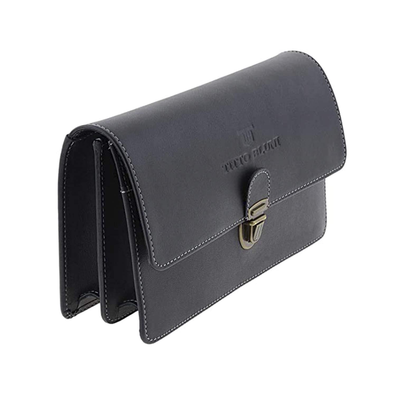 T.BLUNI/AMICHI läderhandväska för män svart