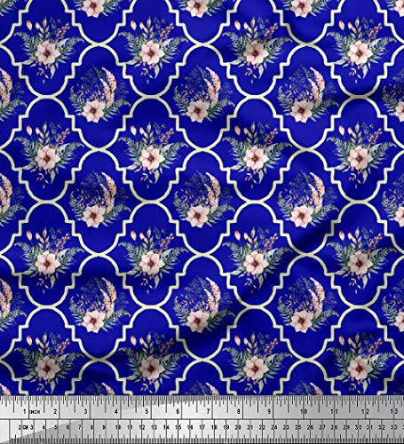 (Soimoi Blue Heavy Satin Fabric Floral Damask Decor Fabric Printed BTY 54 Inch)