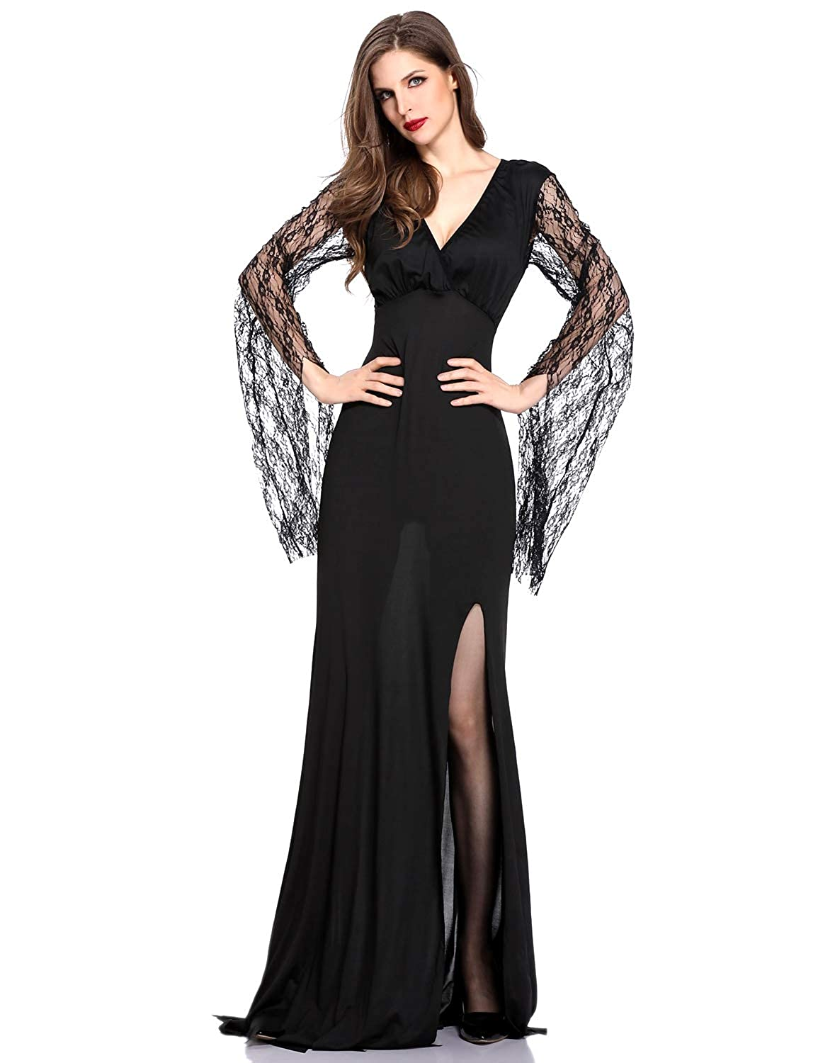 65719ac791fa Amazon.com: DoLoveY Halloween Classic Witch Costume Women Black Queen Long Dress  Cosplay Vampire: Clothing