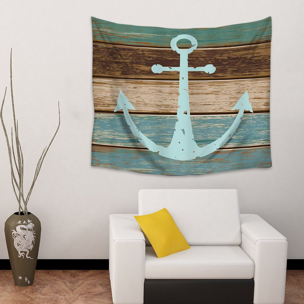 Chees D Zone Wall Hangings Tapestry Nautical Anchor Rustic Wooden Board Barn Light Weight Fabric Throw Tapestries for Home Living Room Bedroom Dorm Art Decor