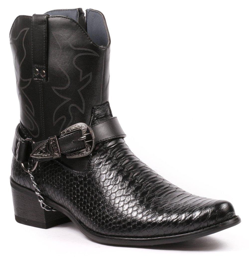 Metrocharm Diego-01 Men's Belt Buckle Chain Strap Western Cowboy Boots (11, Black)