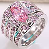 Women Men Jewelry 925 Silver Pink Sapphire Wedding Engagement Ring Size 6-13 (7)