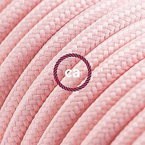 creative cables Alargador el/éctrico con Cable Textil RM16 Efecto Seda Rosa Beb/é 2P 10A Made in Italy Blanco 3 Metros