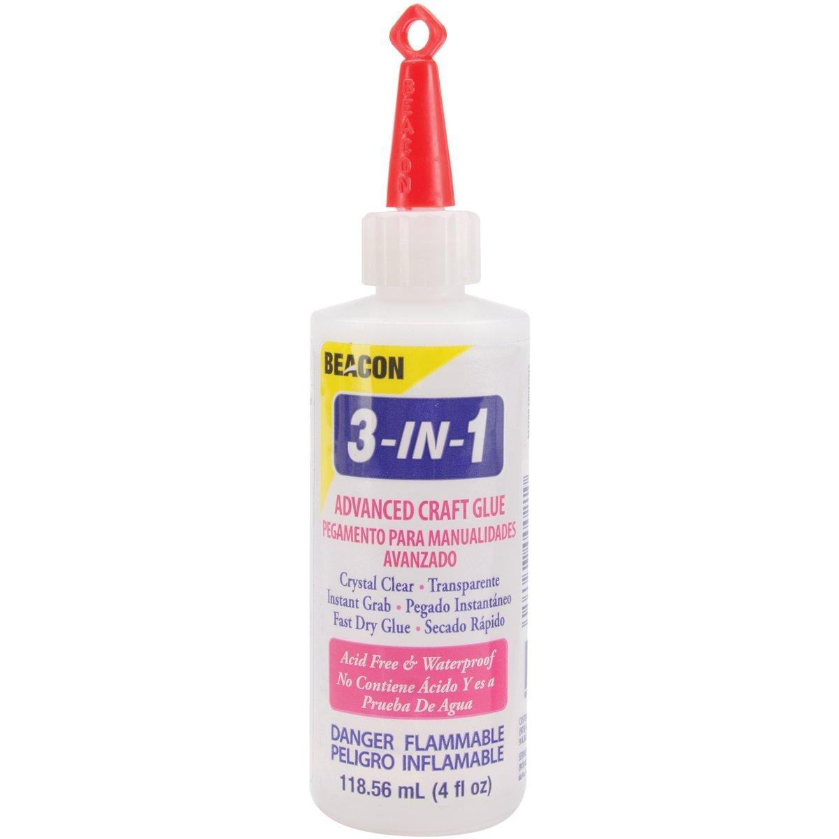 3-in-1 Advanced Craft Glue 118.56ml Medium Bottle, Clear Beacon Adhesives 314OZ