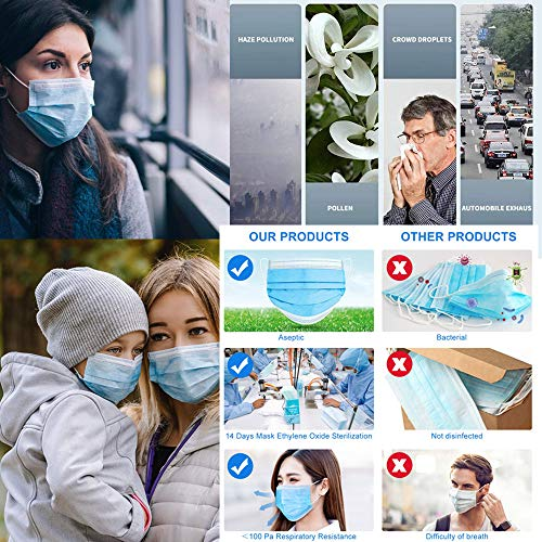 Disposable Protective Face Mask, Breathable 3 Ply Masks with Earloops,with Melt-Blown(50 pcs)