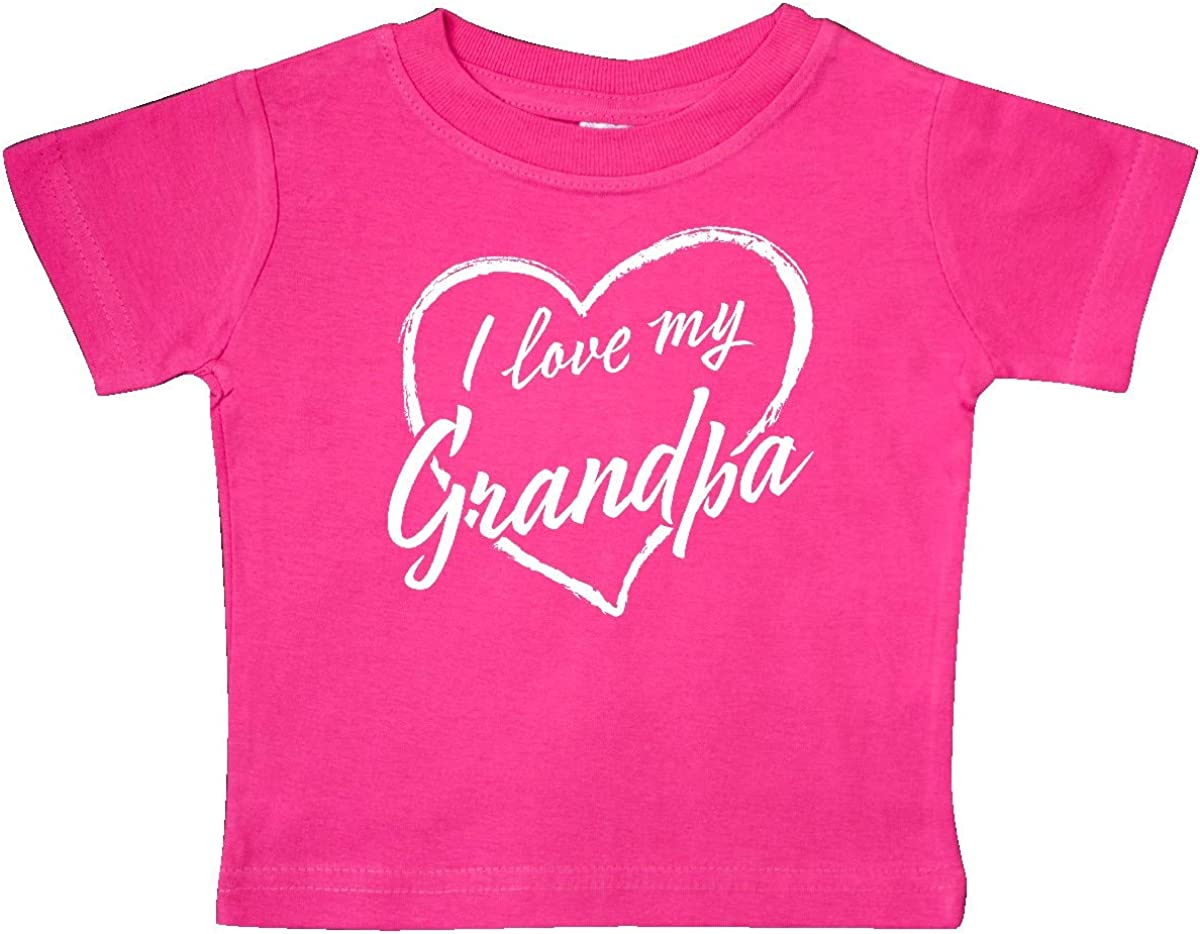 inktastic I Love My Grandpa in White Chalk Heart Baby T-Shirt