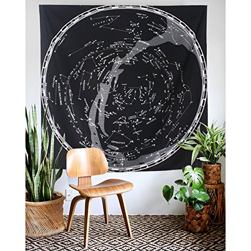 HOLY HOME Tapestry Constellation Map Starry Sky Nostalgia American Rural Retro Style Art Wall Hanging Home Décor 60