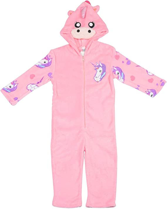 Girls Pyjamas Sleepsuit Unicorn Pink Fleece Hooded PJS