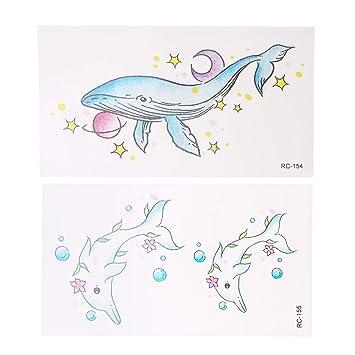 NUOBESTY Pegatinas de Cuerpo de Tatuaje con Estampado de Delfines ...