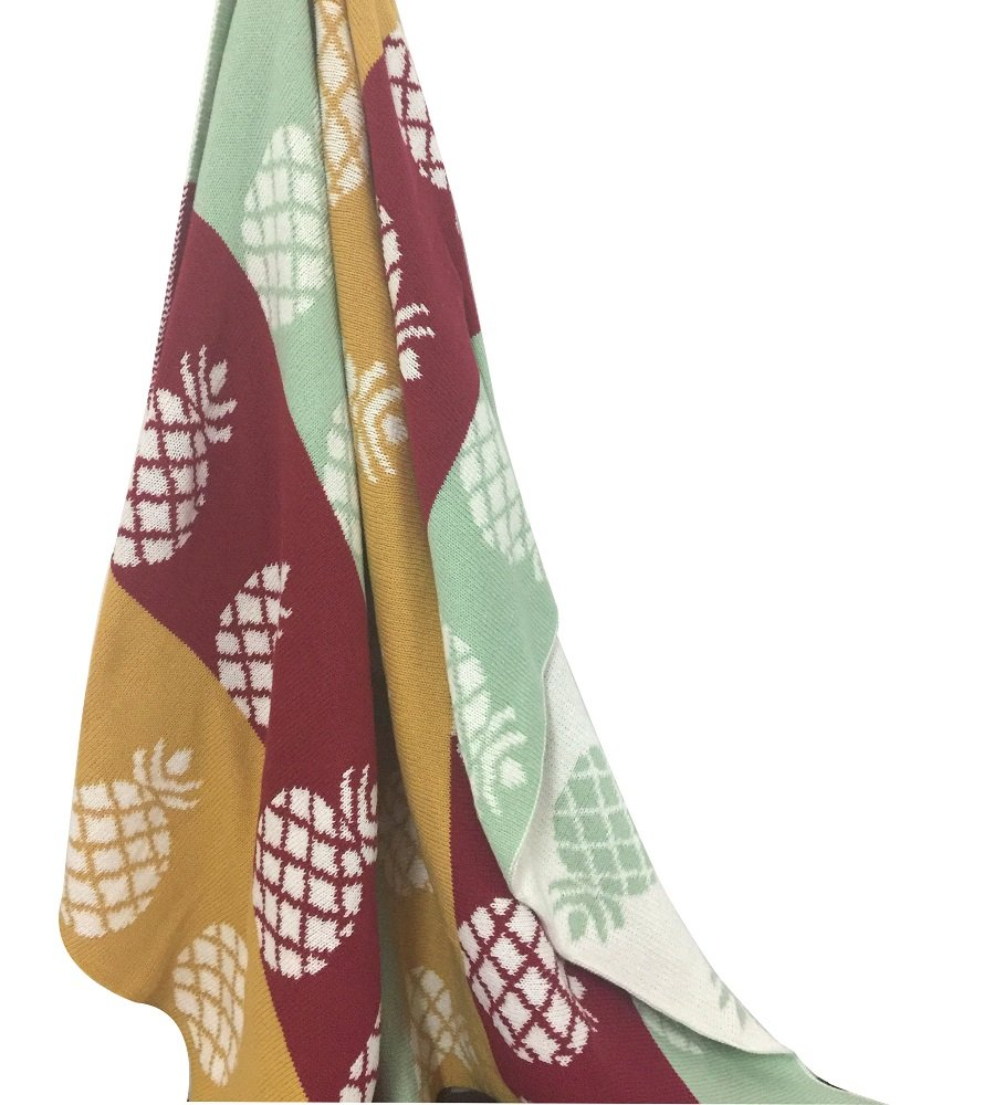 YOUSA Pineapple Blanket Yellow Knitted Throw Blanket 4351
