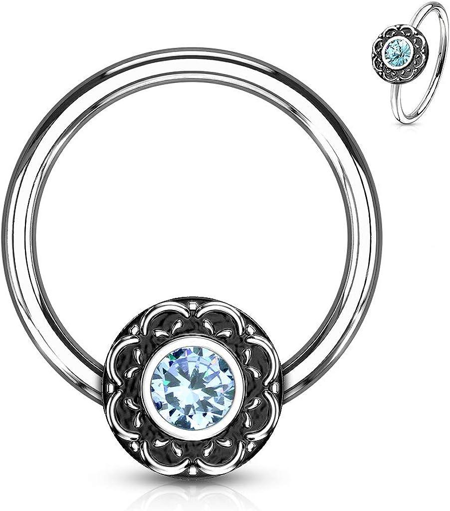 Filigree Clear CZ Centered Septum Ring