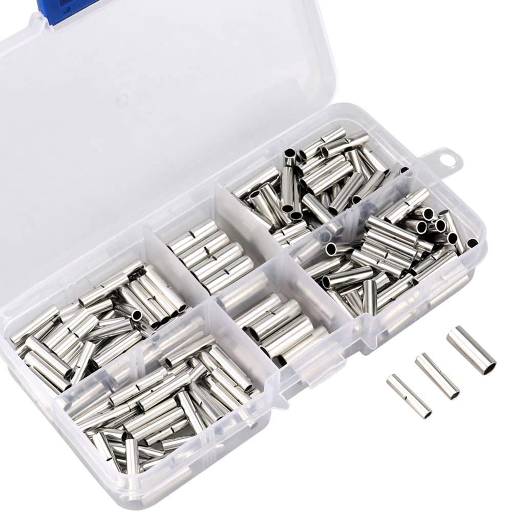 TOOGOO 220Pcs Non-Insulated Butt Connectors 22-18//16-14//12-10 Awg Gauge Uninsulated Electrical Wire Ferrule Cable Crimp Terminal Kit with Storage Case for DIY
