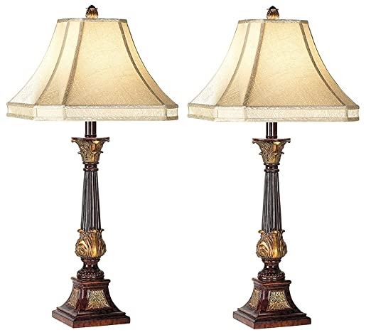 English Bronze Buffet Lamps Set Of 2