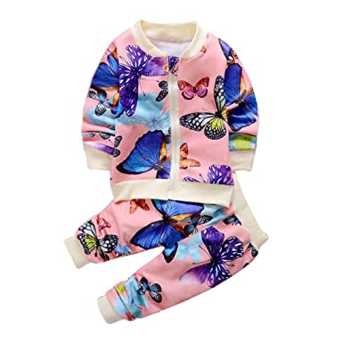 OVERDOSE Baby Mädchen Herbst Kleidung Butterfly Mantel Strickjacke Tops + Hosen Outfits Set