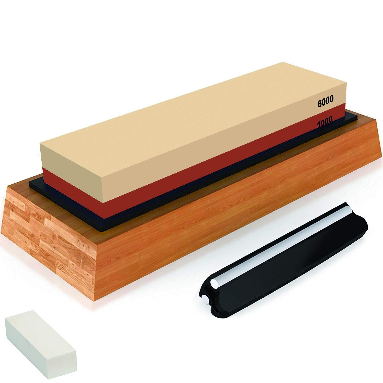 Premium Sharpening Stone Knife Sharpener Best Japanese Whetstone 1000/6000 Grit Waterstone Kit for Kitchen Kamikoto Knives