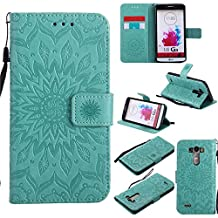 LG G3 Case, Ngift [Sun Flower] Magnetic PU Leather Flip Wallet Case Credit Card Slots Protective Cover with Kickstand Feature for LG G3 [Green]