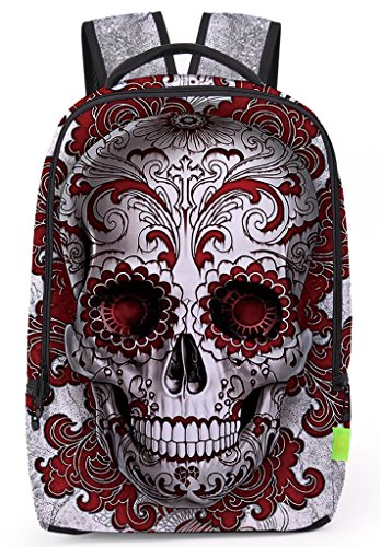 Pizoff Doulbe Mesh Padded Adjustable Shoulder Straps Cute Punk Skull Print Zipper School Bookbags Rucksack Travel Laptop Backpacks Boys Girls Y1799-32