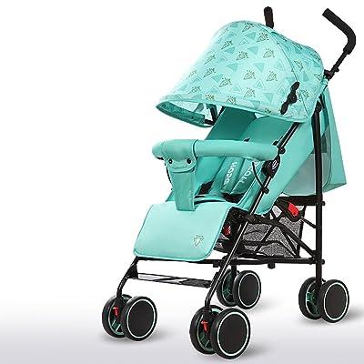 Poussette de bébé, quatre roues de pliage léger, siège, inclinable, corps en acier à haut carbone, amortisseur superbe ( Color : Green )